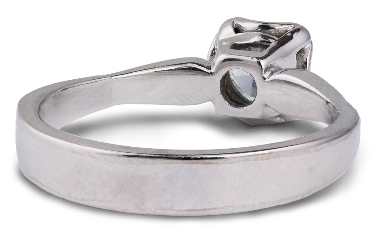 Tapered Shank Diamond Solitaire Engagement - Back