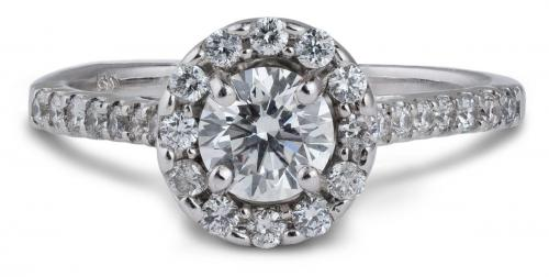 Cathedral Style Halo Engagement Ring with Diamond Accents