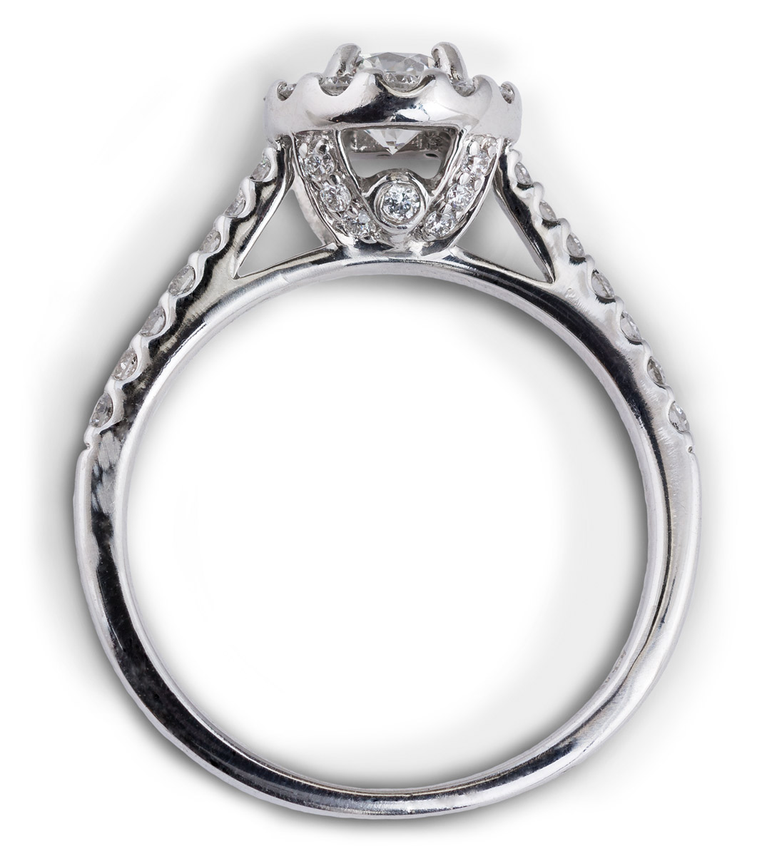 Cathedral Style Halo Engagement Ring With Diamond Accents  Top