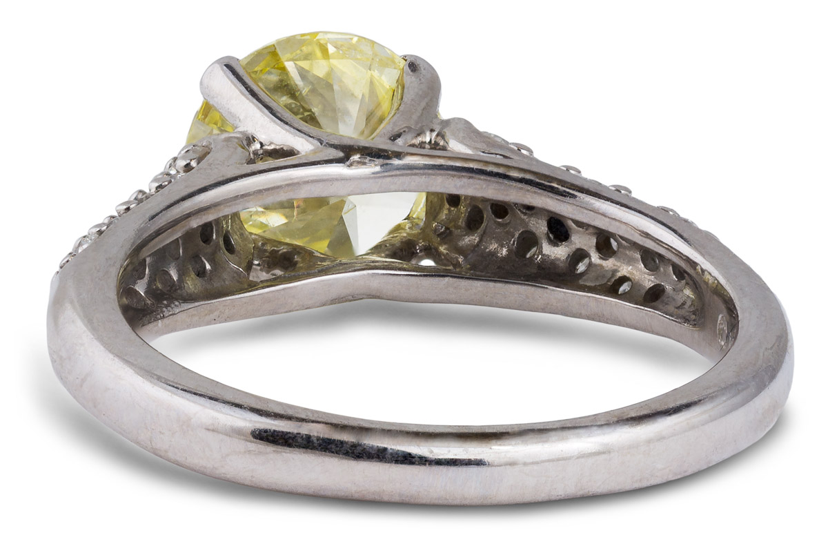 Cathedral Fancy Yellow Diamond Engagement Ring - Back