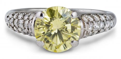 Cathedral Style Yellow Diamond Engagement Ring with Pavé Accents