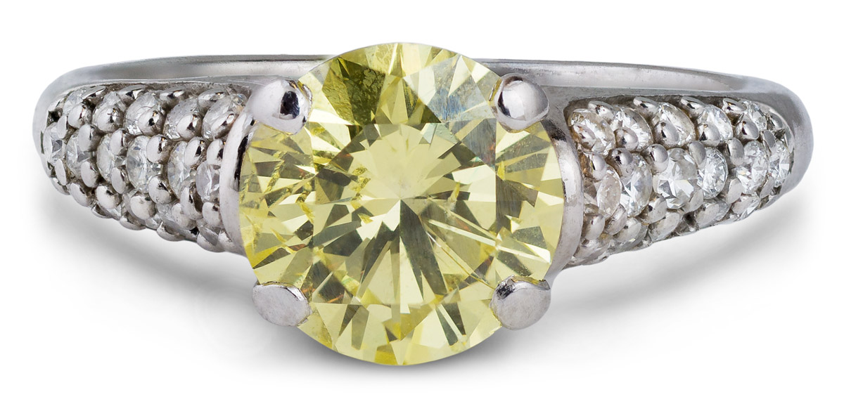 Cathedral Fancy Yellow Diamond Engagement Ring