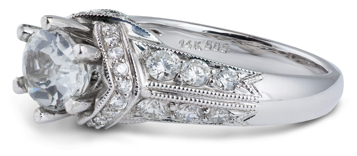 Oval Center Engagement Ring with Diamond Accents - Side