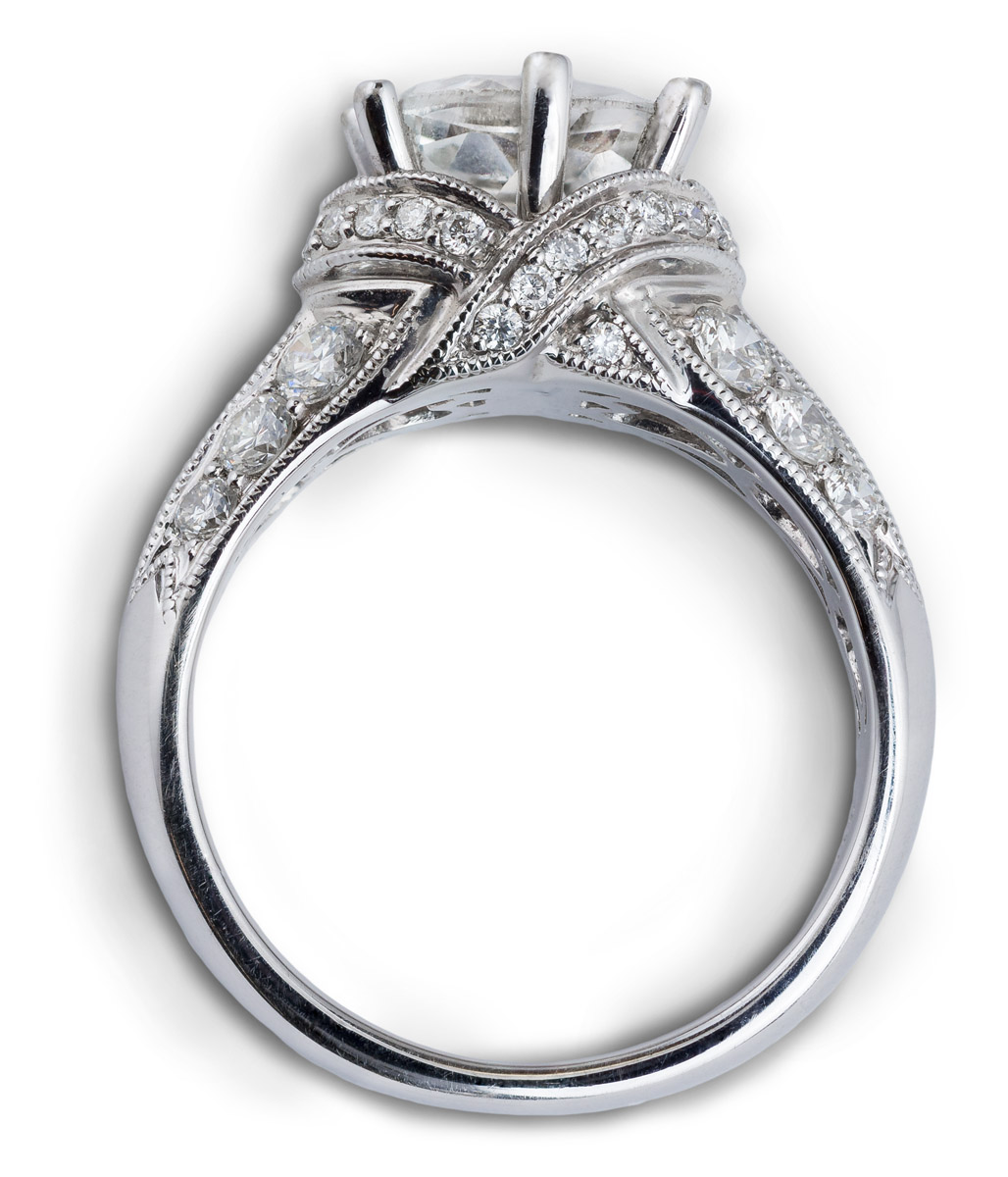 Oval Center Engagement Ring with Diamond Accents - Top