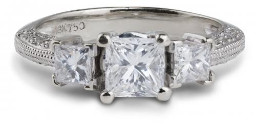 Princess Three Stone Diamond Engagement Ring with Milgrain Accents