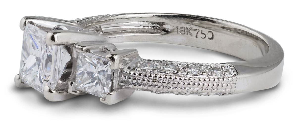 Princess Diamond Engagement Ring with Milgrain Accents - Side