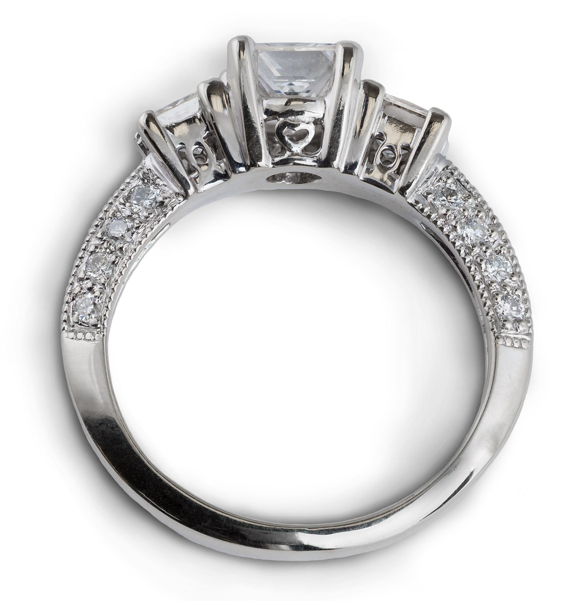 Princess Diamond Engagement Ring with Milgrain Accents - Top