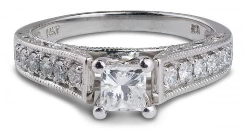 Engraved Cathedral Princess Engagement Ring