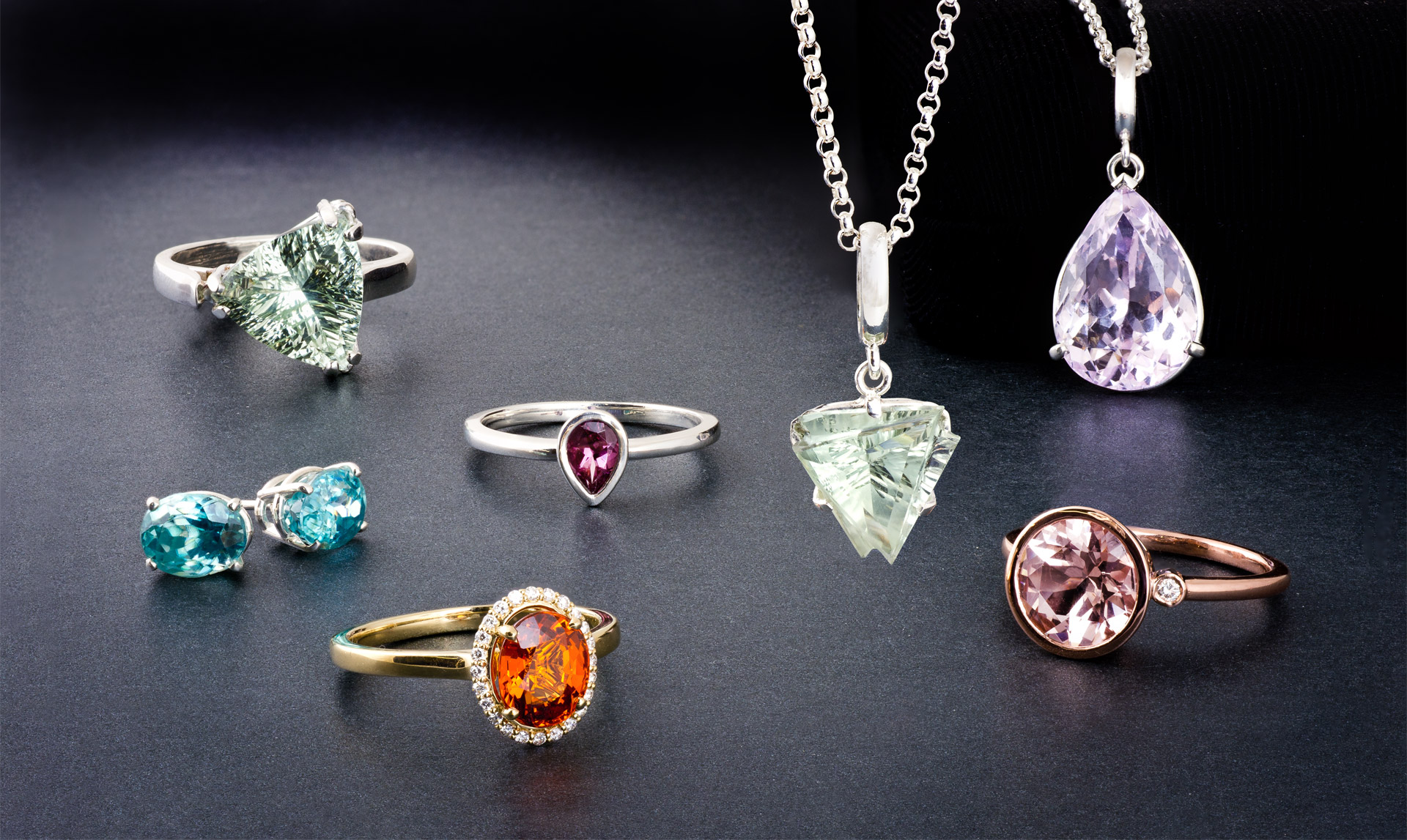 The Rare and Beautiful collection featuring uncommon colored gems
