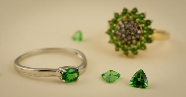 Tsavorite garnet is a rare and beautiful green gem