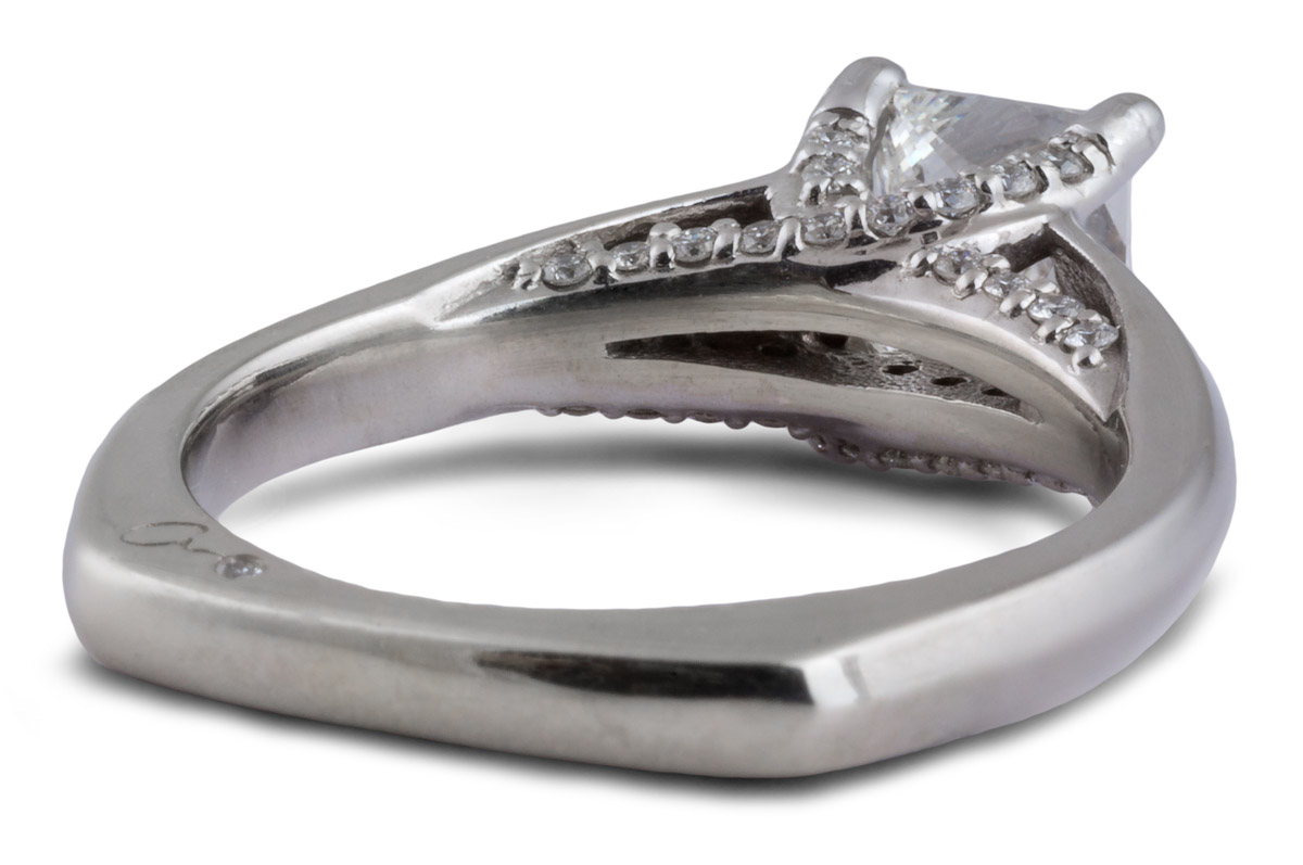 Cathedral Style Princess Diamond Engagement Ring - Back