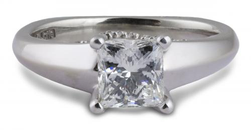 A. Jaffe : Cathedral Style Princess Diamond Engagement Ring