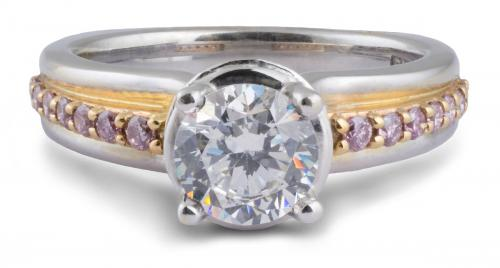 A. Jaffe : Two Tone Engagement Ring with Pink Diamonds