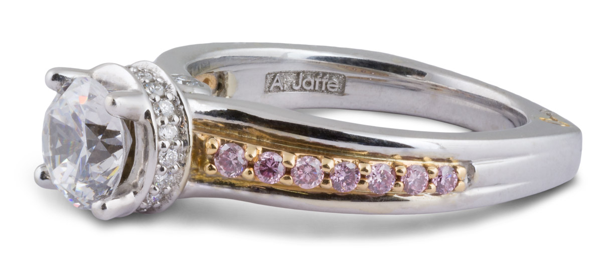 Two Tone Semi-Mount Engagement Ring with Pink Diamonds - Side