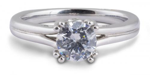A. Jaffe : Classic Split Shank Engagement Ring with Diamond Accents