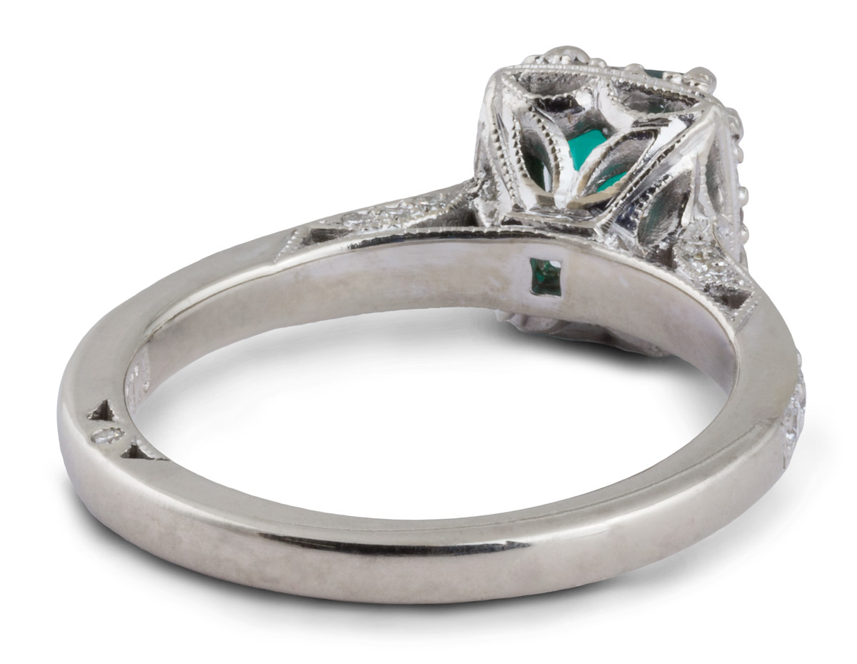 Halo Double Prong Emerald Engagement Ring With Filigree - Back