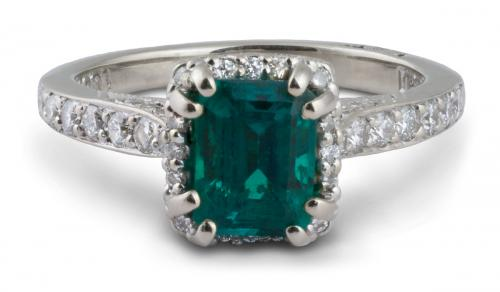 Tacori : Halo Double Prong Emerald Engagement Ring With Filigree