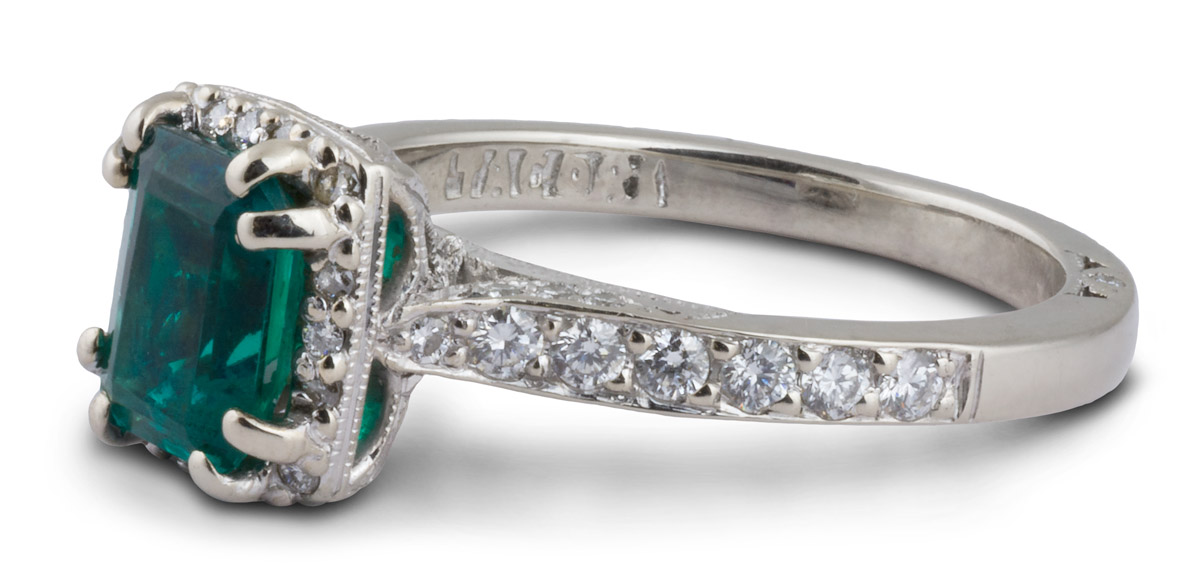Halo Double Prong Emerald Engagement Ring With Filigree - Side