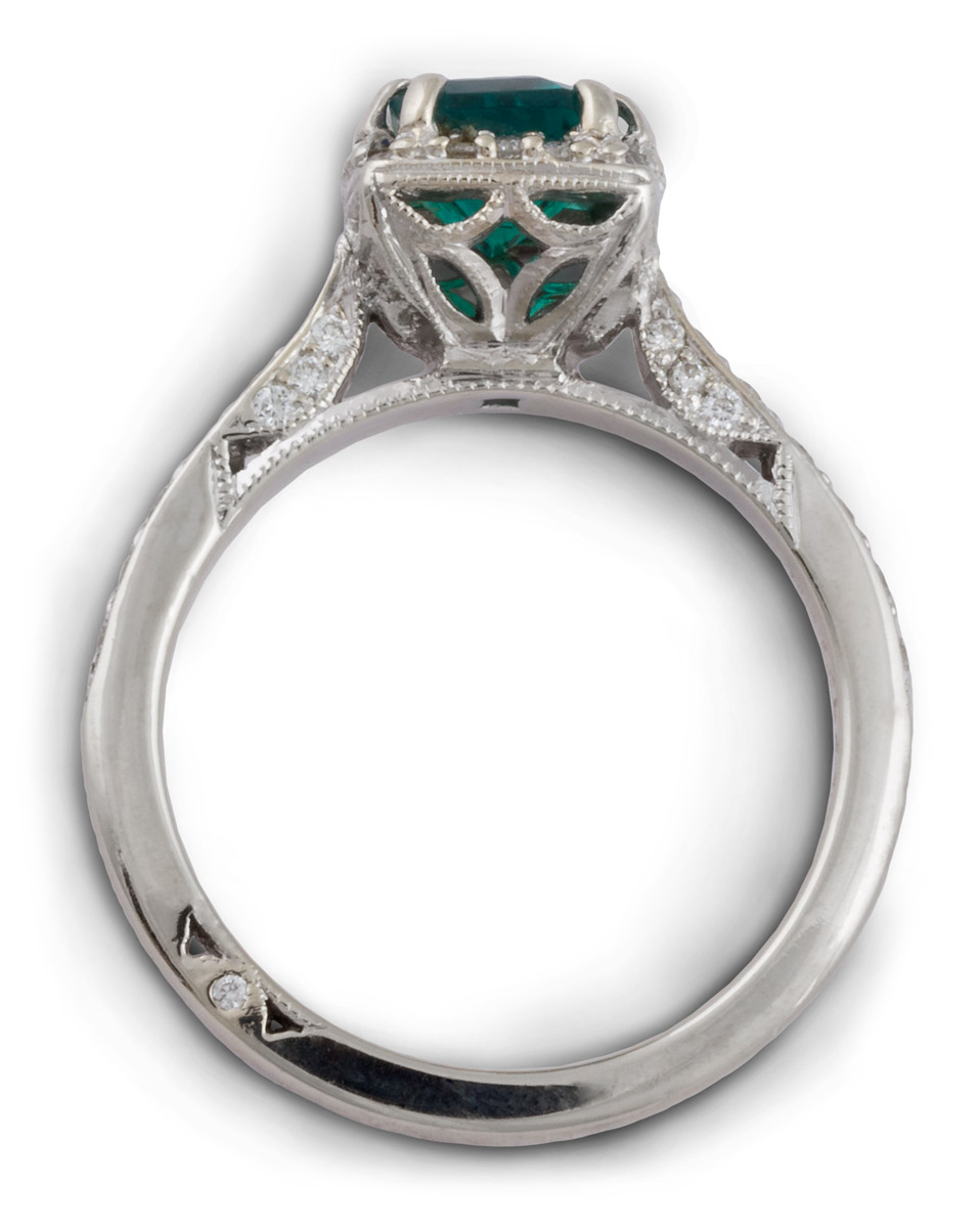 Halo Double Prong Emerald Engagement Ring With Filigree - Top