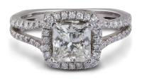 Split Prong Halo Princess Diamond Engagement Ring