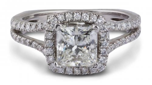 A. Jaffe : Split Prong Halo Princess Diamond Engagement Ring