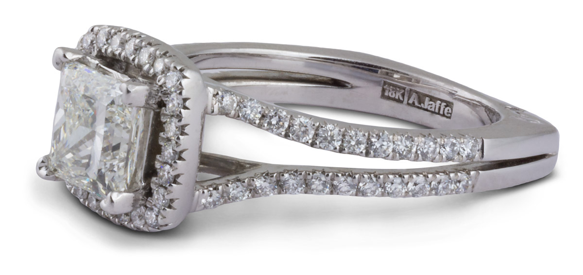 Split Prong Halo Princess Diamond Engagement Ring - Side