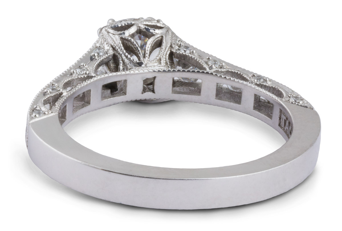 Milgrain Filigree Semi-Mount Engagement Ring With Diamonds - Back