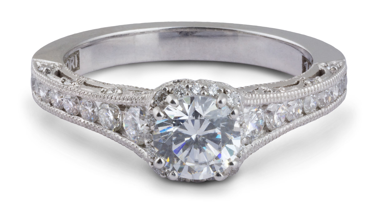 Milgrain Filigree Semi-Mount Engagement Ring With Diamonds