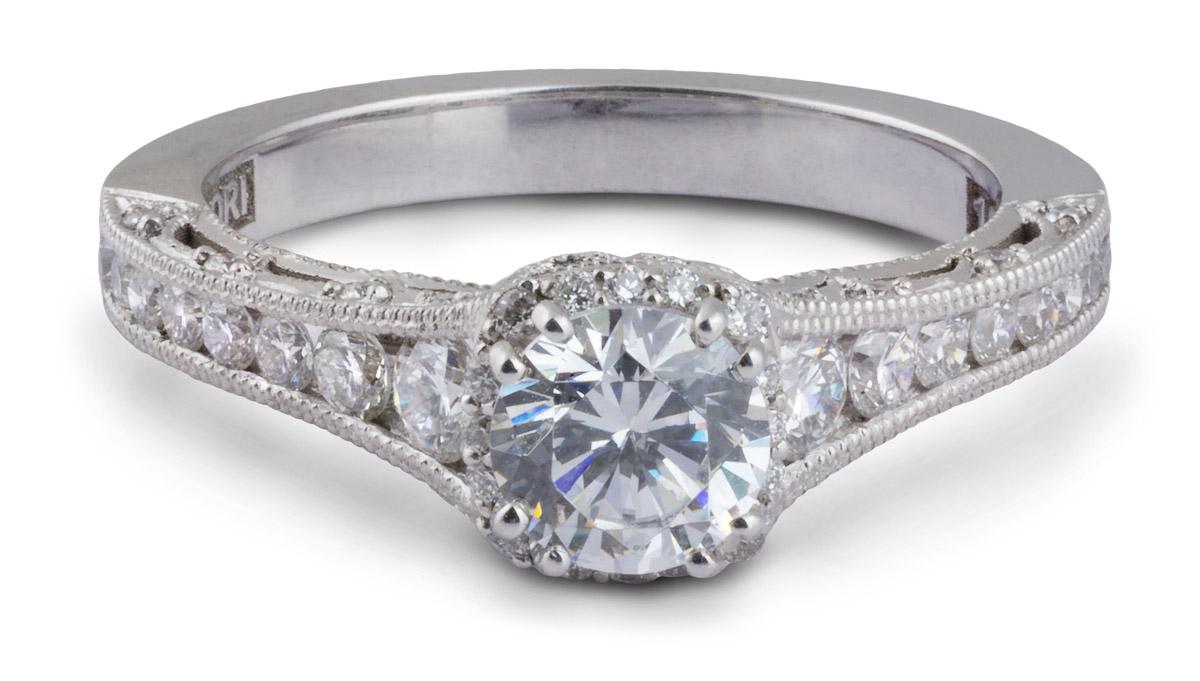 Milgrain Filigree Semi-Mount Engagement Ring With Diamonds