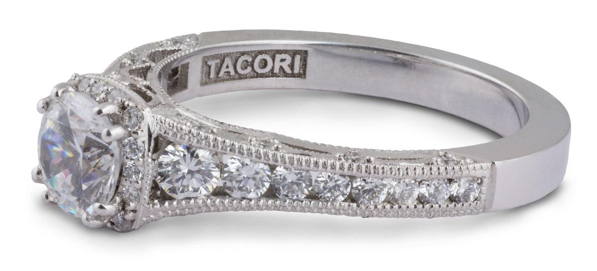 Milgrain Filigree Semi-Mount Engagement Ring With Diamonds - Side