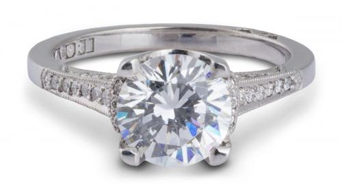 Tacori : Cathedral Engagement Ring With Diamond Accents