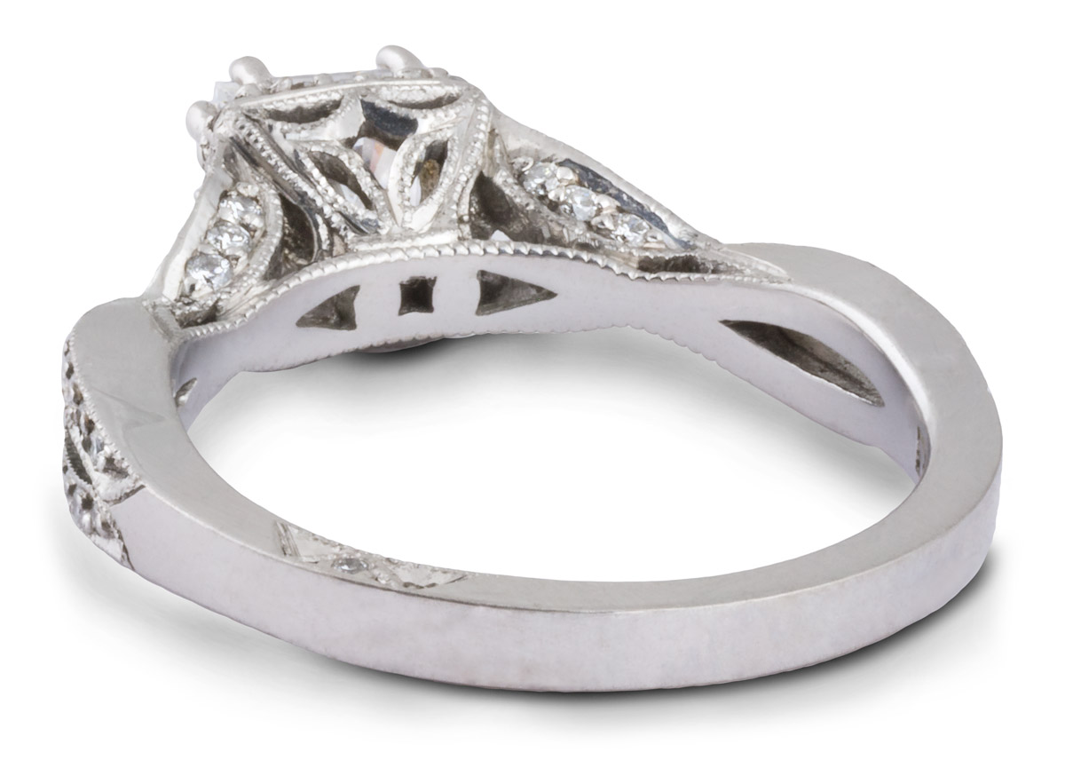 Princess Halo Engagement Ring With Entwined Shank - Back