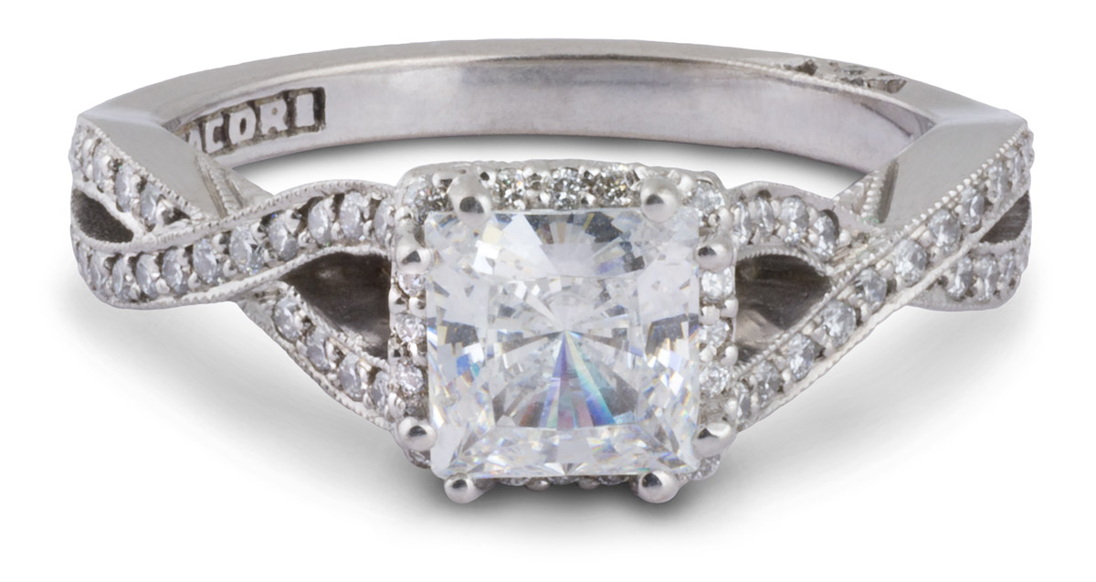 Tacori Dantela : Princess Halo Engagement Ring With Crossover Shank