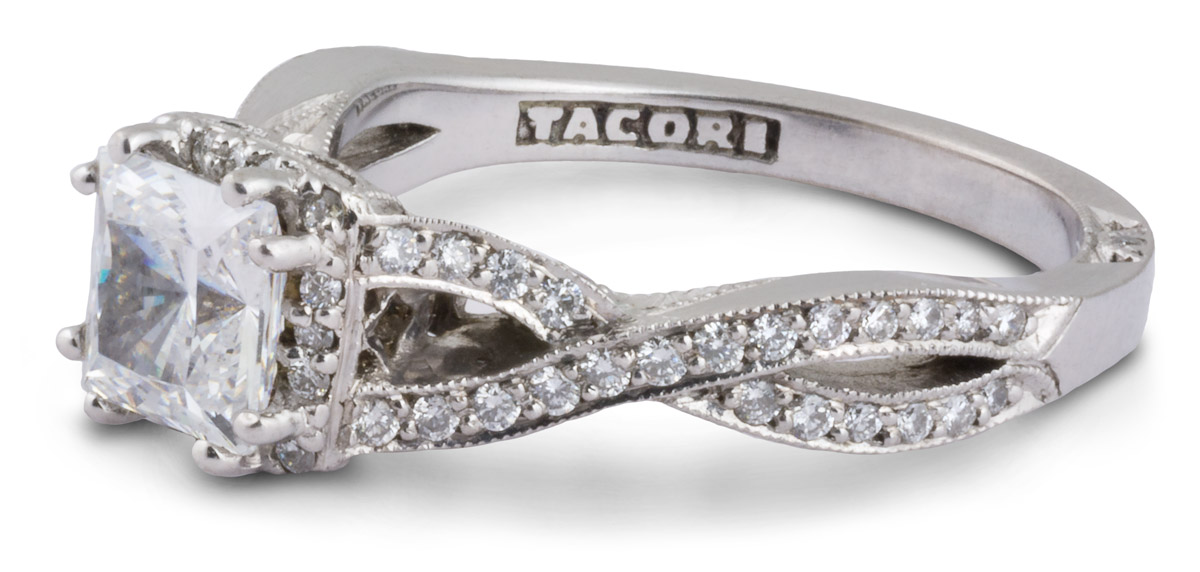 Princess Halo Engagement Ring With Entwined Shank - Side