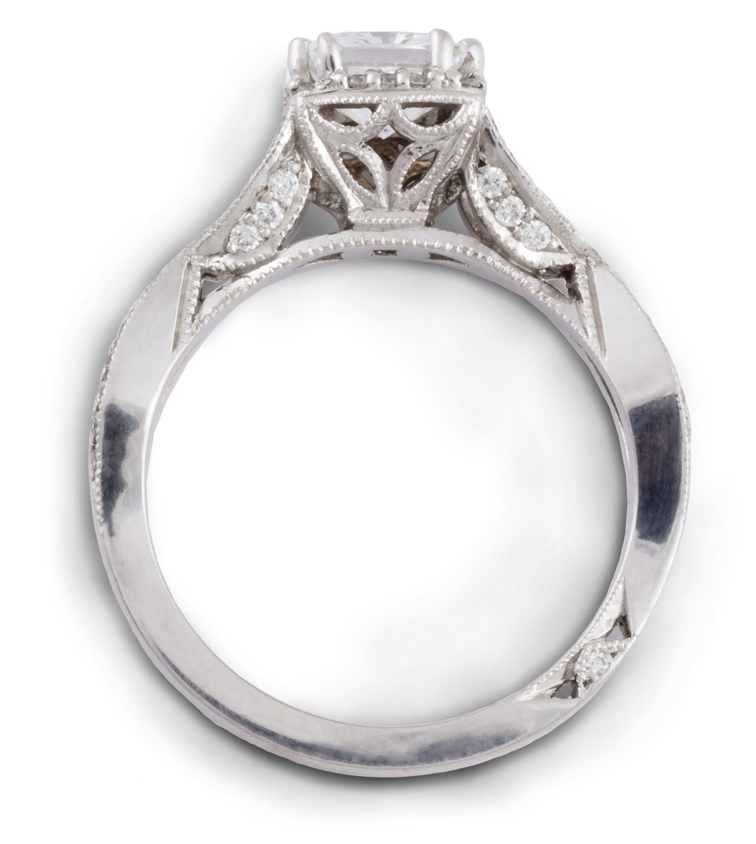 Princess Halo Engagement Ring With Entwined Shank - Top