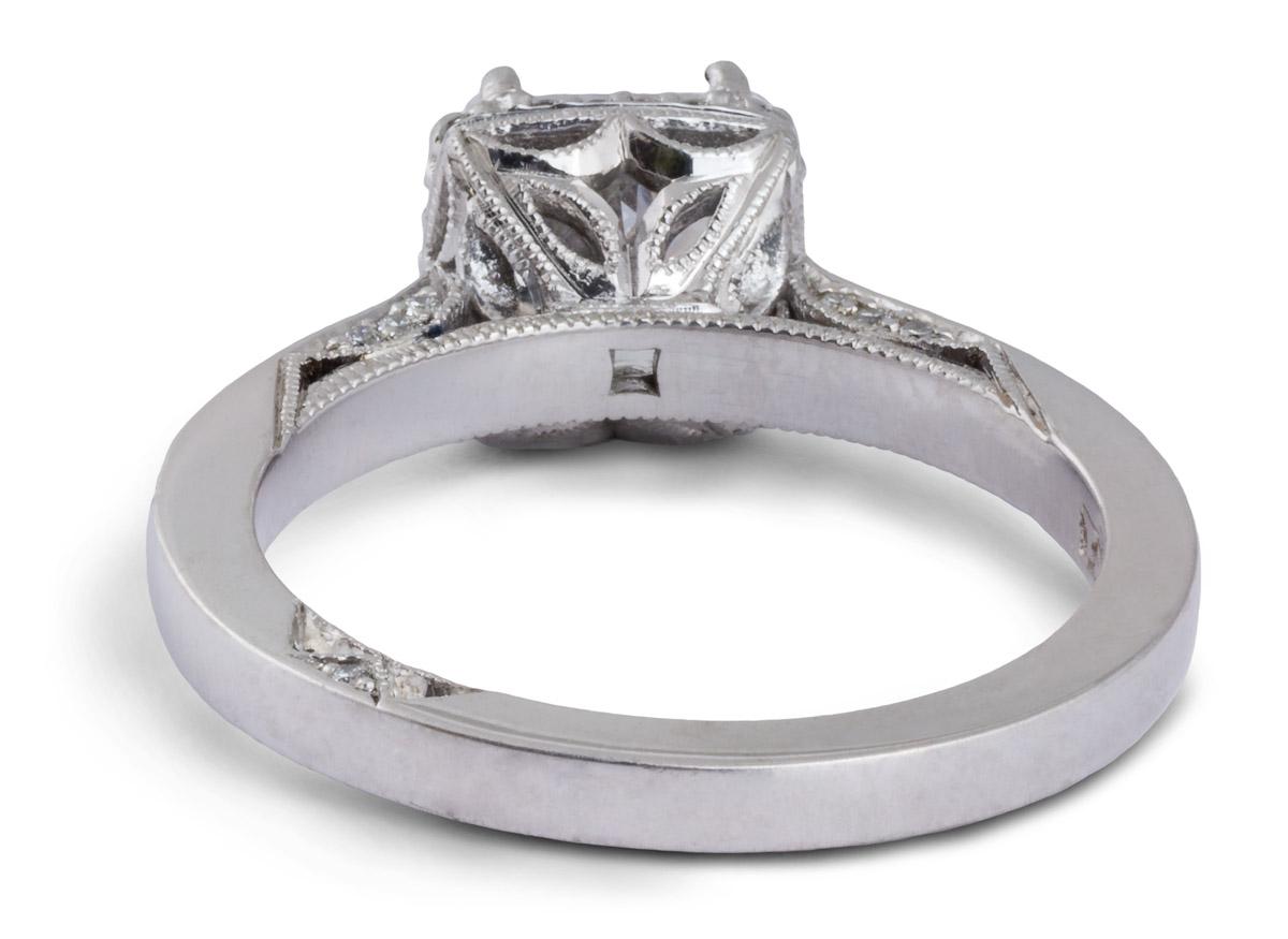 Princess Halo Semi-Mount Engagement Ring With Diamonds - Back