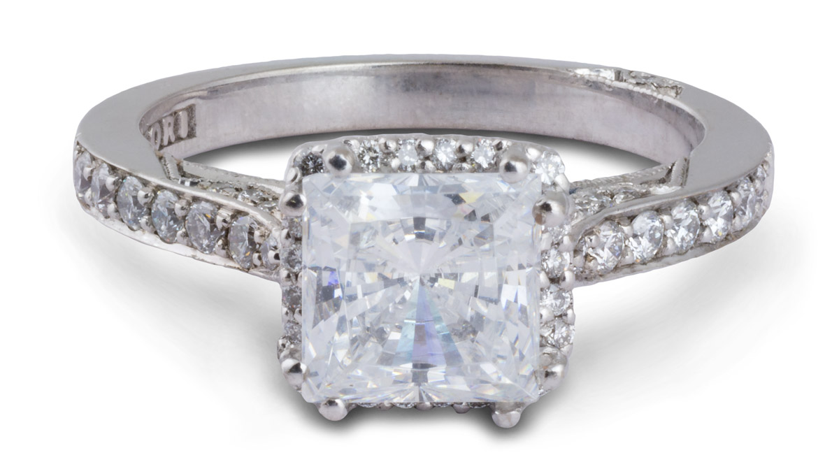 Princess Halo Semi-Mount Engagement Ring With Diamonds