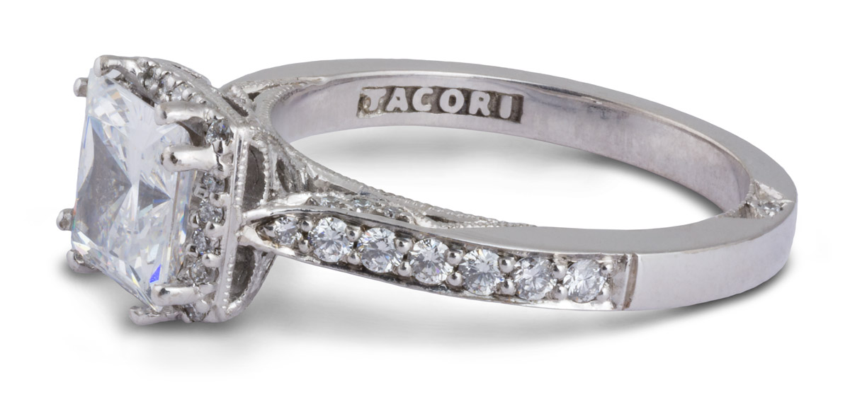 Princess Halo Semi-Mount Engagement Ring With Diamonds - Side