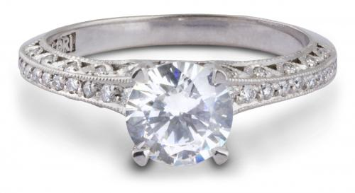 Tacori : Filigree Engagement Ring With Diamond Accents