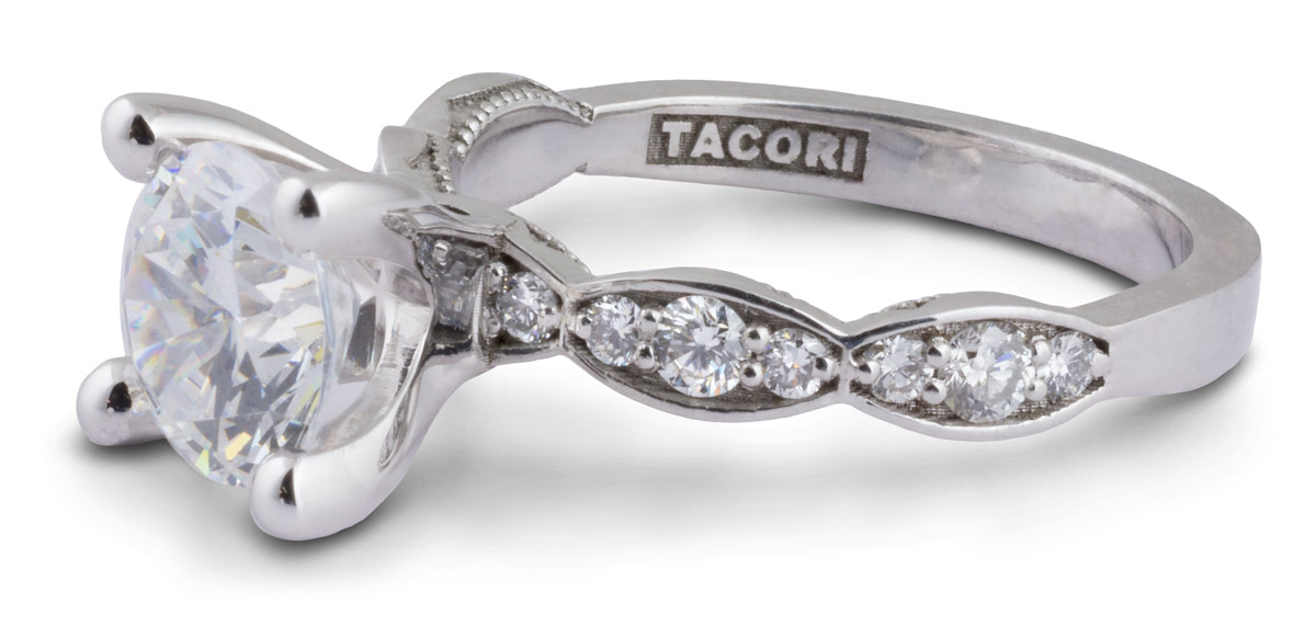 Scalloped Shank Engagement Ring With Diamond Accents - Side