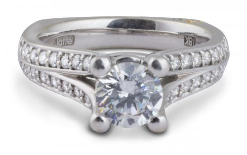 A. Jaffe : Classic Split Shank Engagement Ring with Diamonds