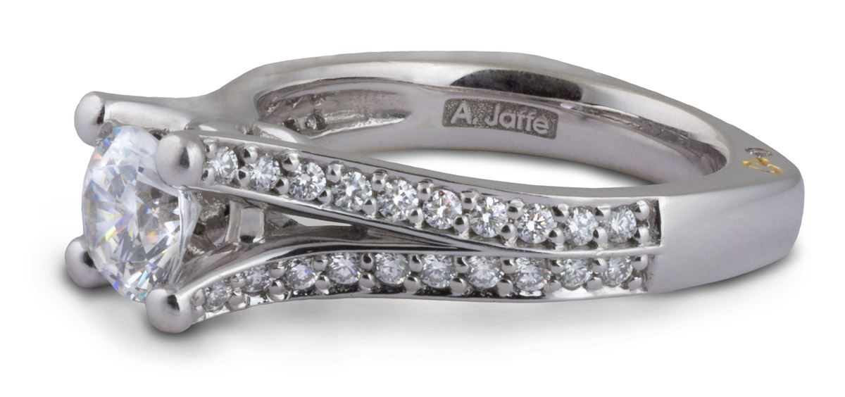 Semi-Mount Split Shank Engagement Ring with Diamonds - Side