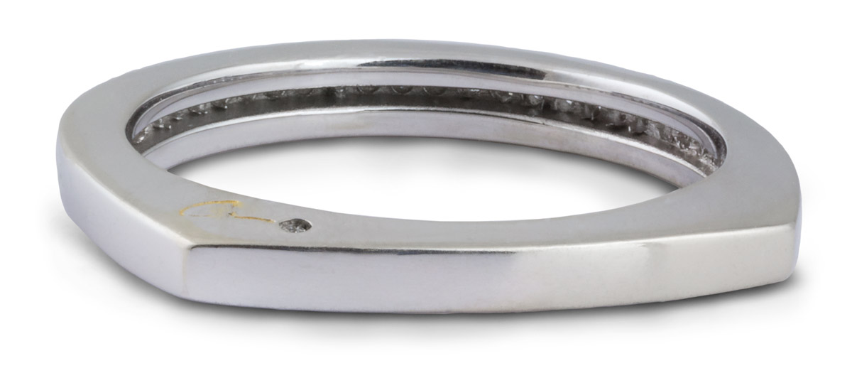 Diamond Channel Wedding Band - Back