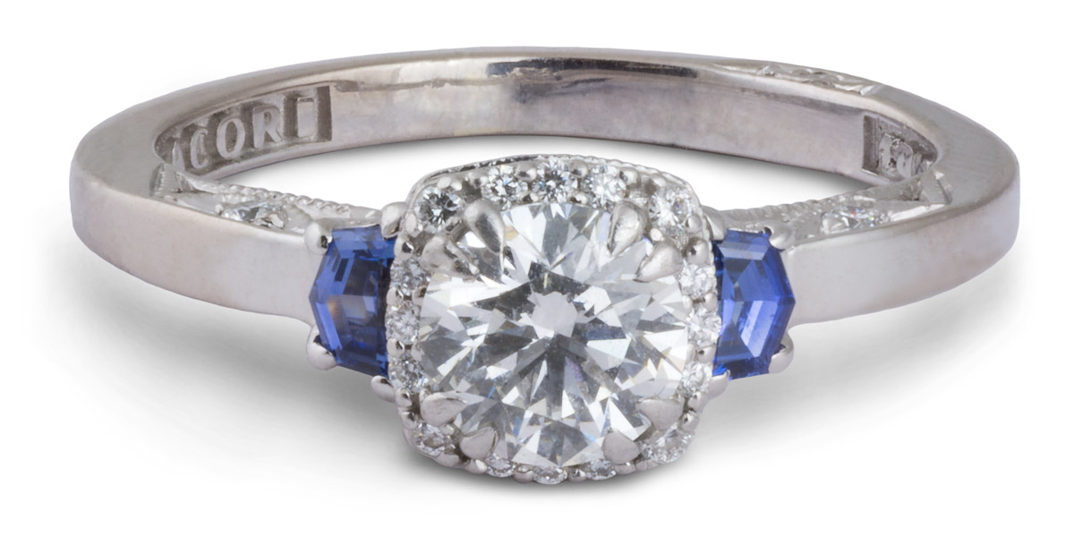 Tacori : Halo Filigree Diamond Engagement Ring With Sapphires