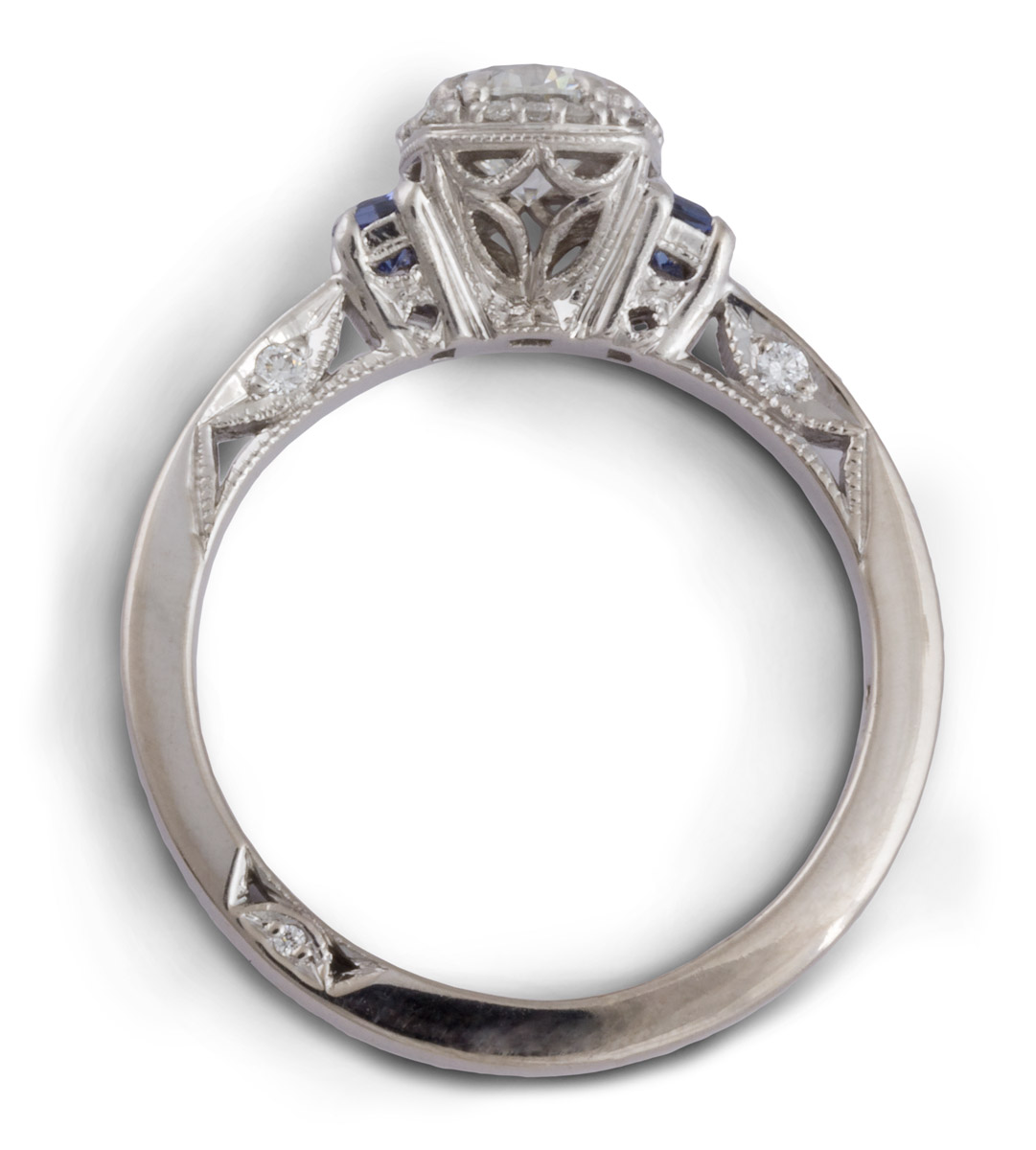 Filigree Diamond Engagement Ring With Sapphires - Top