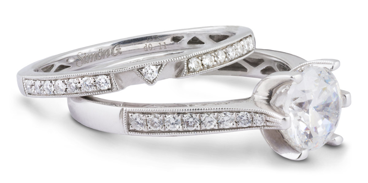 Milgrain Wedding Set with Diamond Accents - Side