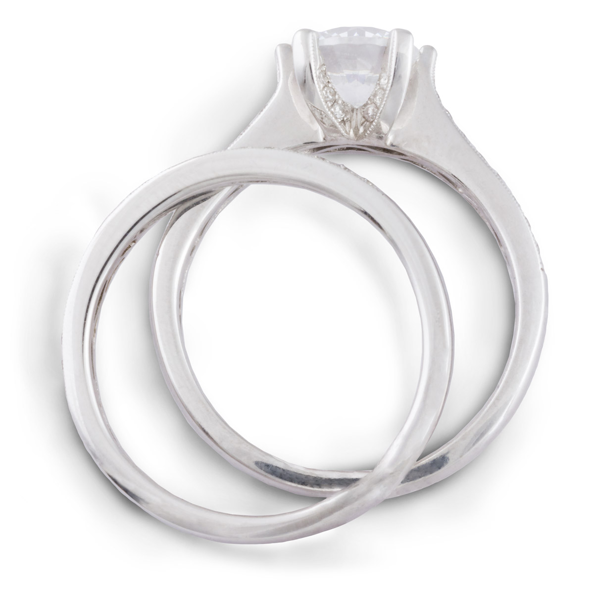 Milgrain Wedding Set with Diamond Accents - Top