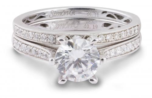 Simon G : Milgrain Wedding Set with Diamond Accents