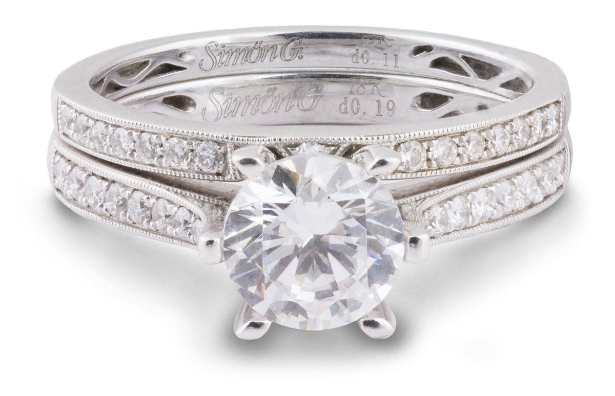 Simon G : Milgrain Wedding Set with Diamond Accents