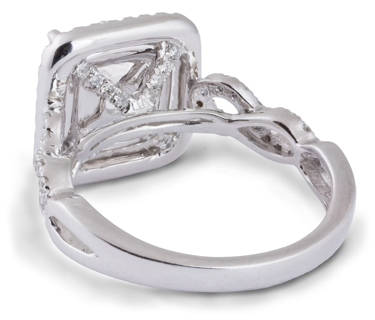 Double Square Halo Engagement Ring with Criss-Cross Shank - Back